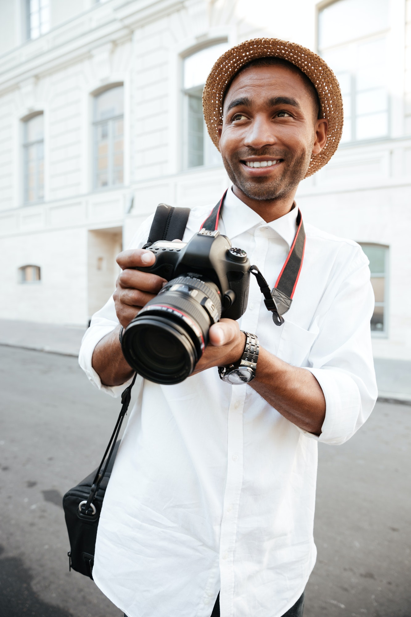 Close up portrait of afro american photographer